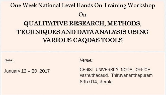 Training Workshop on Qualitative Research, Methods, Techniques And