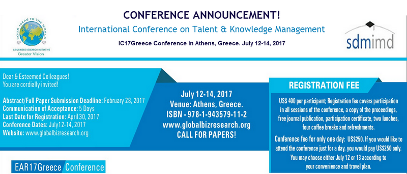 International Conference on Talent & Knowledge Management - IC17Greece