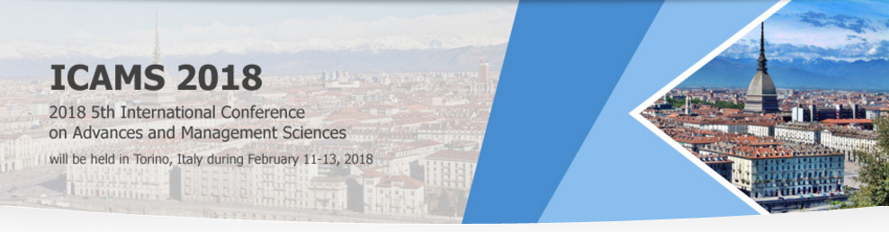 2018 5th International Conference on Advances and Management Sciences (ICAMS 2018), Torino, Italy