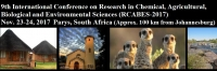 9th International Conference on Research in Chemical, Agricultural, Biological and Environmental Sciences (RCABES-2017)