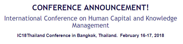 International Conference on Human Capital and Knowledge Management, Thailand, Bangkok, Thailand