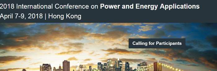 2018 International Conference on Power and Energy Applications (ICPEA 2018), Hong Kong, Hong Kong