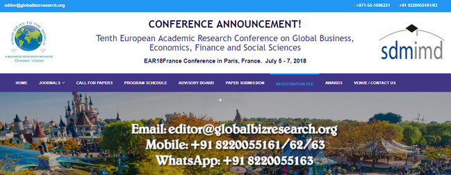 Tenth European Academic Research Conference on Global Business, Economics, Finance and Social Sciences, Paris, France