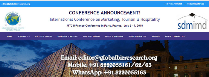 International Conference on Marketing, Tourism & Hospitality, Paris, France