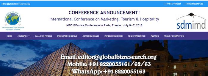 International Conference on Marketing, Tourism & Hospitality, Paris, France