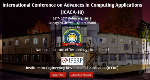 International Conference on Advances in Computing Applications (ICACA-18), Tehri Garhwal, Uttarakhand, India