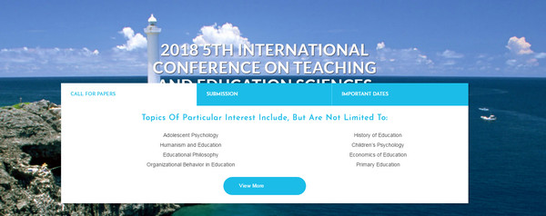 2018 5th International Conference on Teaching and Education Sciences (ICTES 2018), Okinawa, Japan
