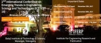 2nd International Conference on Emerging Trends in Engineering Science and Technologies