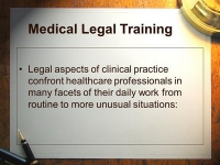 Training Course on Legal Aspects of Health Care