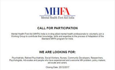 Mental Health First Aid India - Call for participation, Chennai, Tamil Nadu, India