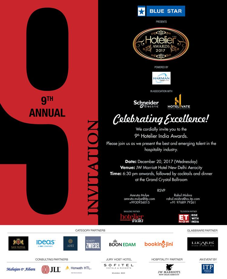 Hotelier India Awards 2017, New Delhi, Delhi, India