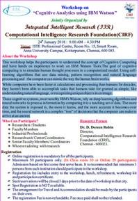 "Workshop on ""Cognitive Analytics using IBM Watson"""