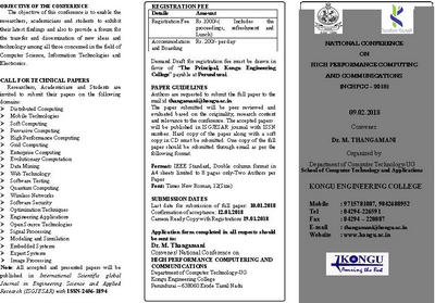 High Performance Computing and Communications, Erode, Tamil Nadu, India