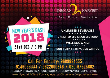 Gala New Year Night at Deccan Harvest, Magarpatta with unlimited