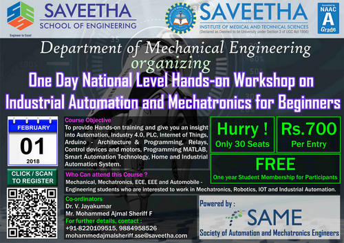 One Day National Level Hands-on Workshop on Industrial Automation and Mechatronics for Beginners, Chennai, Tamil Nadu, India
