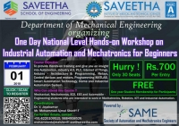 One Day National Level Hands-on Workshop on Industrial Automation and Mechatronics for Beginners