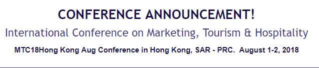 International Conference on Marketing, Tourism & Hospitality, Hong Kong, Hong Kong