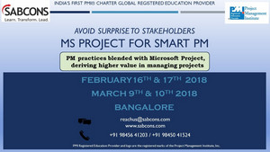 MS Project Training 16th & 17th February 2018, Bangalore, Karnataka, India
