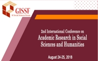 2nd International Conference on Academic Research in Social Sciences and Humanities (ARSSH-2018)