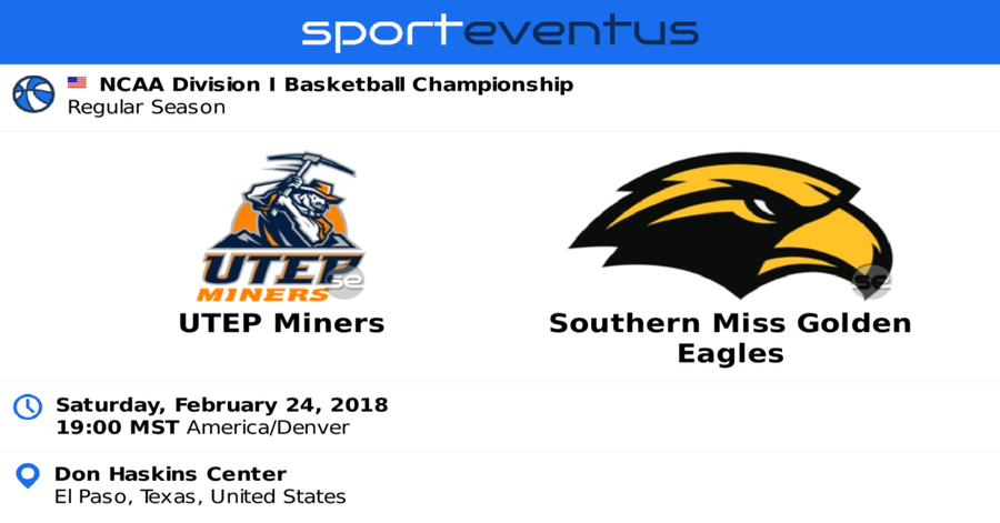 UTEP Miners vs. Southern Mississippi Golden Eagles Mens Basketball, El Paso, Texas, United States