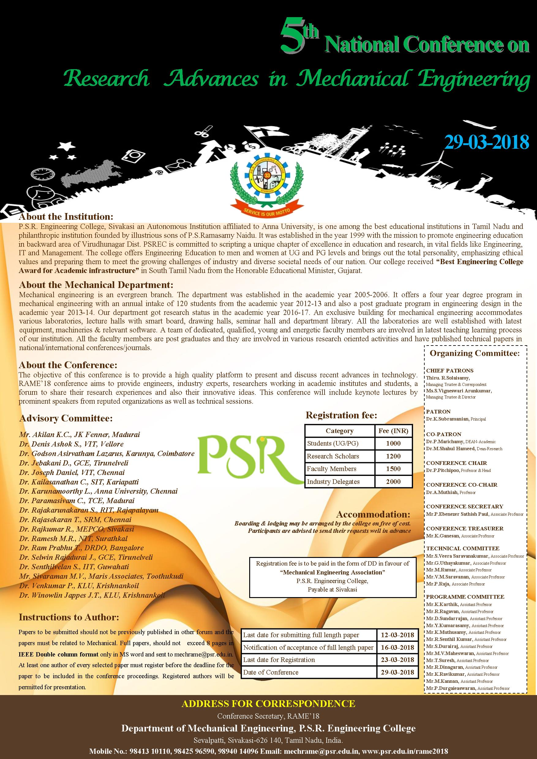 5th National Conference on Research Advances in Mechanical Engineering-RAME'18, Virudhunagar, Tamil Nadu, India