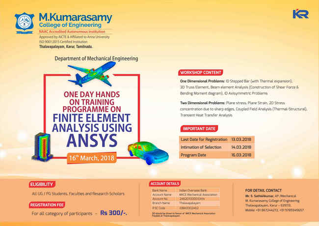 One Day Hands on Training Programme on Finite Element Analysis using ANSYS, Karur, Tamil Nadu, India