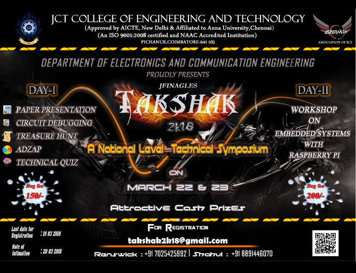 National Level Technical Symposium-TAKSHAK 2k18, Coimbatore, Tamil Nadu, India