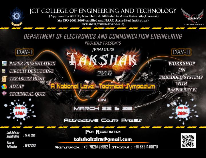 National Level Technical Symposium-TAKSHAK 2k18, Coimbatore, Tamil Nadu, India