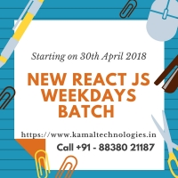 New React JS Weekdays Batch - starting on 30th April, 2018