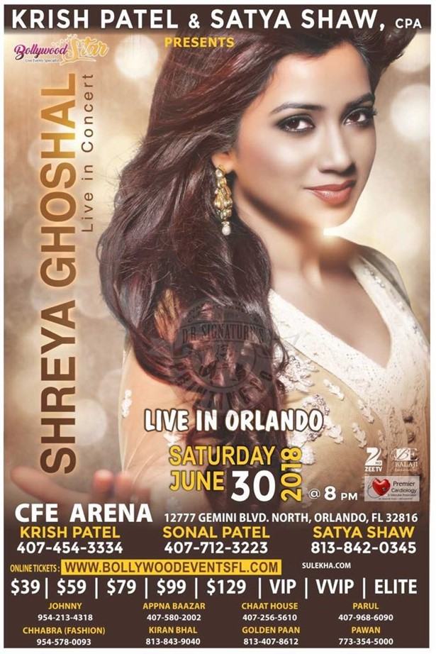 Shreya Ghoshal Live Concert in Orlando 2018, Orlando, Florida, United States