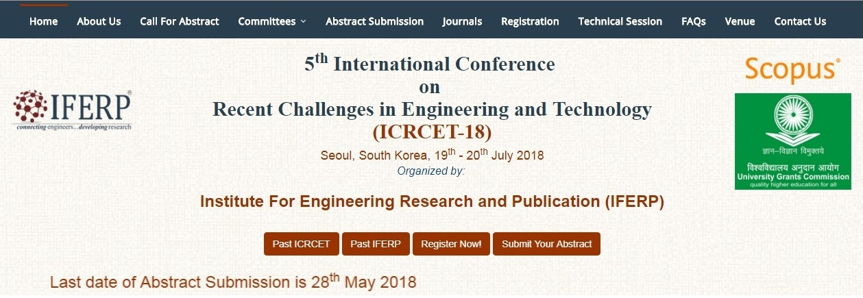 5th International Conference  on  Recent Challenges in Engineering and Technology, Siheung-daero, Geumcheon-gu,,Seoul,South korea