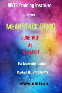Meanstack Online & Offline Demo On June 16th at 10 AM IST