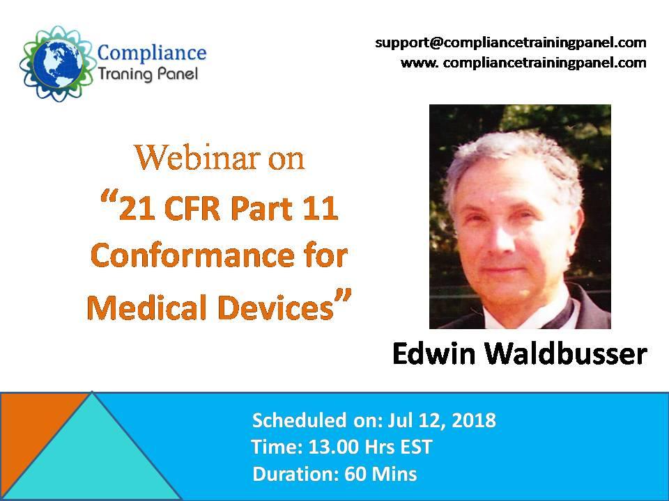 21 CFR Part 11 Conformance for Medical Devices, Washington, Maryland, United States
