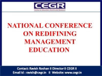NATIONAL CONFERENCE ON REDIFINING MANAGEMENT EDUCATION