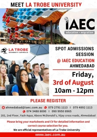 Meet La Trobe University @ IAEC Education, Ahmedabad. Spot Admissions and Scholarships information!