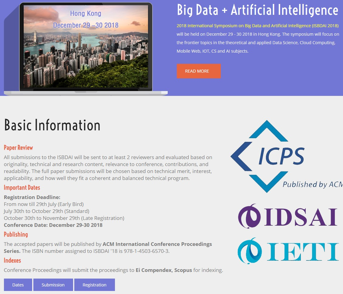 2018 International Symposium on Big Data and Artificial Intelligence (ISBDAI 2018), IETI, Hong Kong, Hong Kong