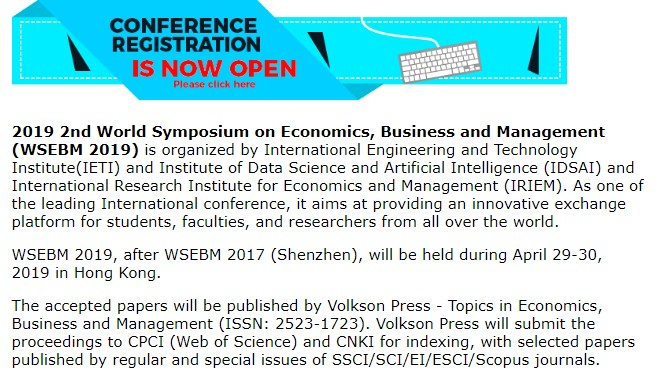 2019年第二届经济商业与管理国际会议(WSEBM 2019), IETI, Hong Kong, Hong Kong