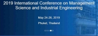 MSIE 2019 International Conference on Management Science and Industrial Engineering