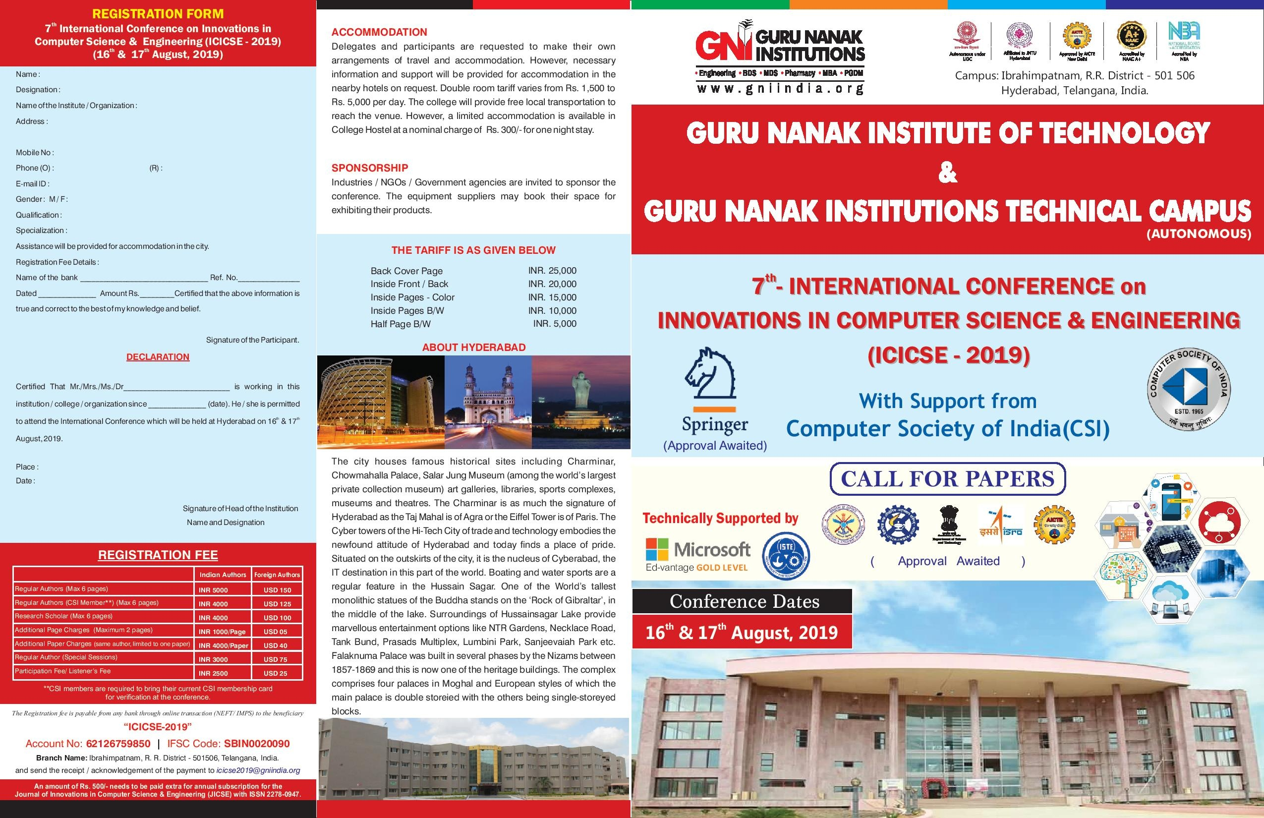 7th International Conference on Innovations in Computer Science & Engineering, Hyderabad, Telangana, India
