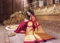 Latest Banarasi sarees online at lowest price at Mirraw