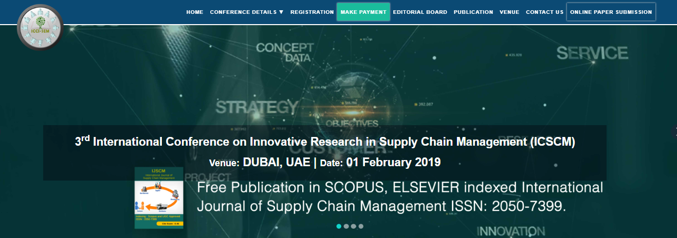 3rd International Conference on Innovative Research in Supply Chain Management (ICSCM), Dubai, United Arab Emirates