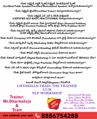 Lifeskills-Train the trainer cum NLP Workshop 8886754288