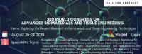 3rd World Congress on Advanced Biomaterials and Tissue Engineering