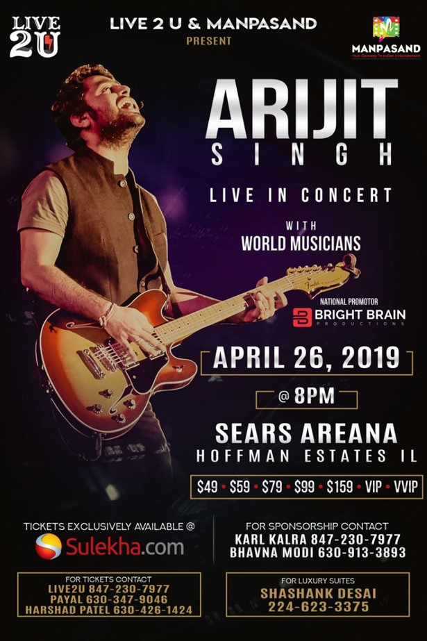 Arijit Singh Live in Concert 2019 Chicago, Hoffman Estates, IL,California,United States