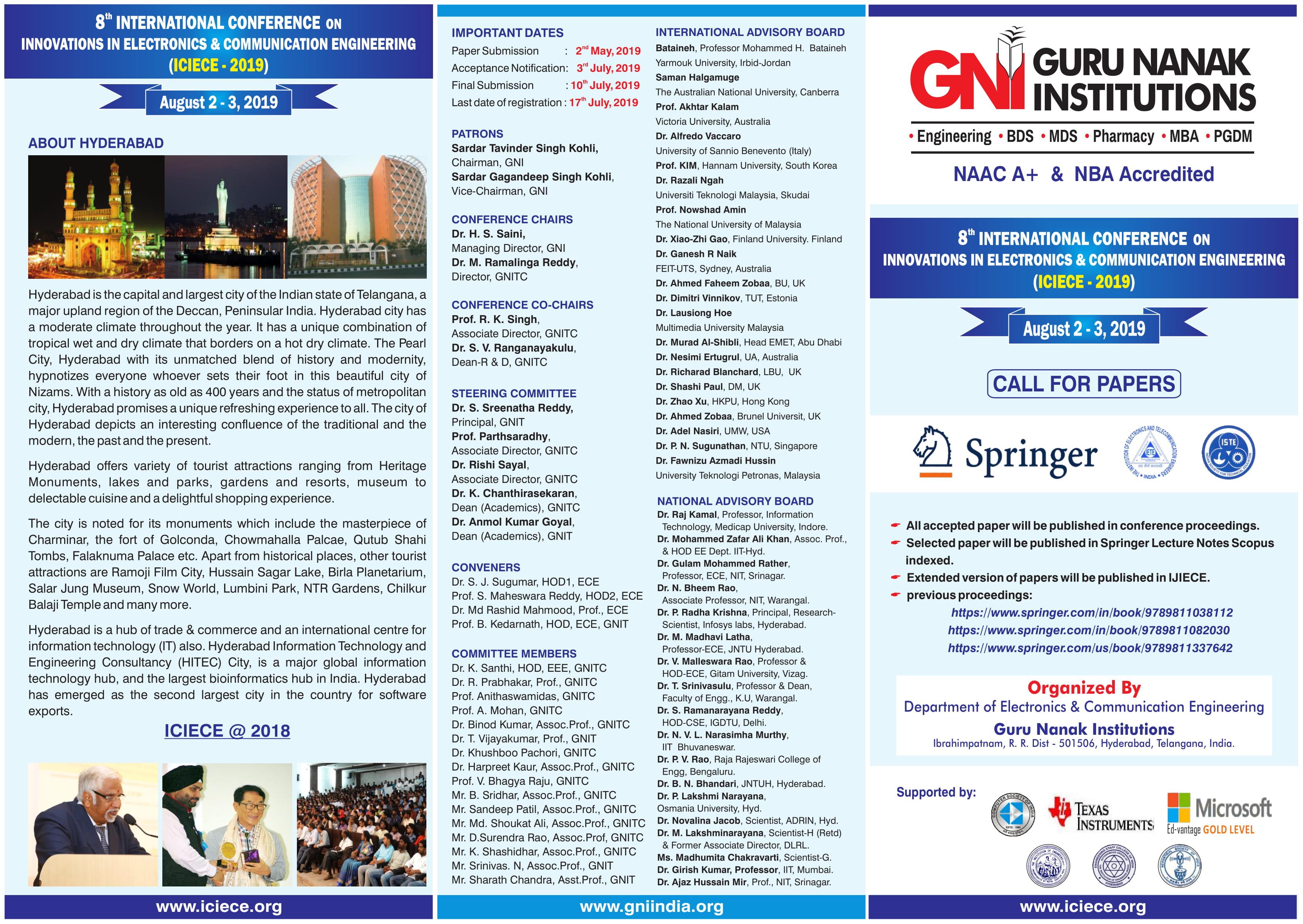 INTERNATIONAL CONFERENCE ON INNOVATIONS IN ELECTRONICS & COMMUNICATION ENGINEERING (ICIECE - 2019), Hyderabad, Telangana, India