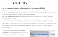 2019 3rd International Conference on Economics, Finance and Statistics (ICEFS2019)