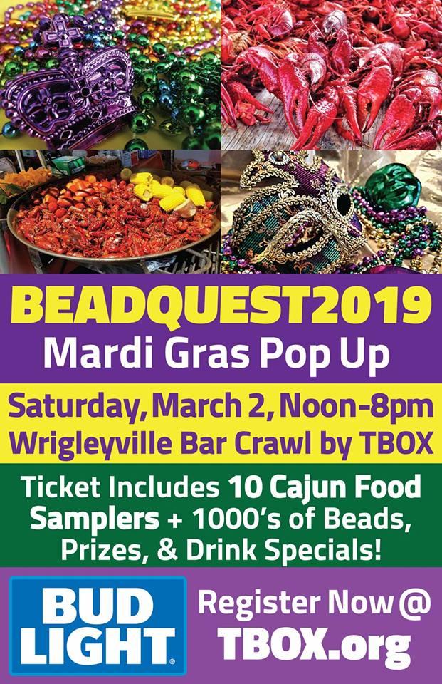 Beadquest Mardi Gras Bar & Food Crawl, Cook, Illinois, United States