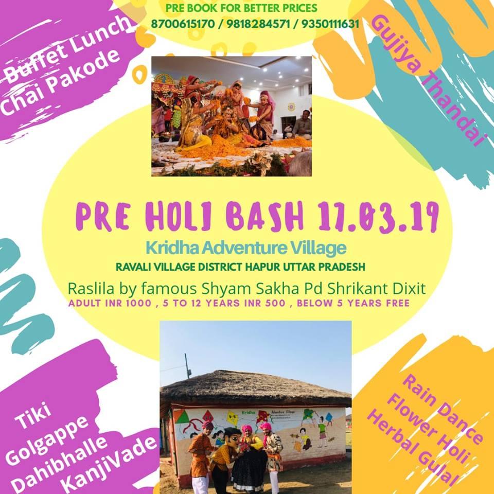 Pre Holi Bash-Kridha Adventure Village, Ravali Village, District Hapur, Uttar Pradesh,Uttar Pradesh,India