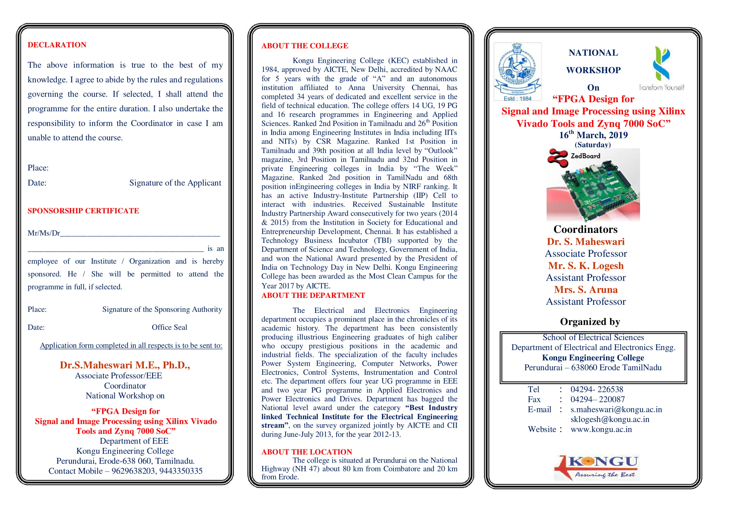 """NATIONAL WORKSHOP On """"FPGA Design for Signal and Image Processing using Xilinx Vivado Tools and Zynq 7000 SoC"""", Erode, Tamil Nadu, India"""