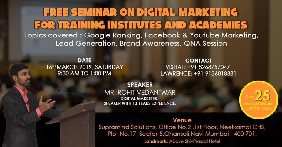 Free Digital Marketing Seminar for Training Institutes, Mumbai suburban, Maharashtra, India